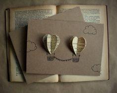 Hot Air Balloon carte di cuore-set di 4 di theadoration su Etsy