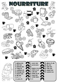 French food vocabulary worksheet.