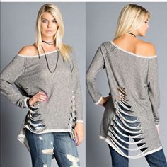 HOLD for Monica AVALON shredded long sleeve terry top - CHARCOAL size SMALL Tops