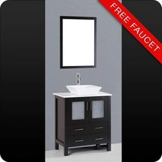 "View the Bosconi A130S 30"" Free Standing Vanity Set with Wood Cabinet, Stone Composite Top, Vessel Sink, and Mirror at FaucetDirect.com."