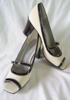 NEW RAMPAGE Bone Black Canvas Peeptoe Modern Mary Jane DAZED Pumps Hi Heels 8 M #Rampage #MaryJanes #Peeptoe #SexyPumps