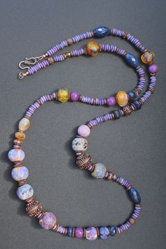 "Scheherazade's fairytale - long necklace 35"" - lampwork, copper beads, lapis, jade and bone washers"