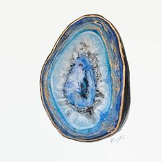 Agate Slice Agate Art Geode Art Agate Painting by BirchBliss
