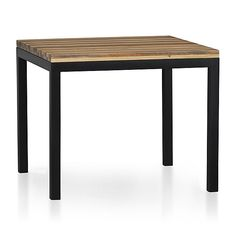 "Reclaimed Wood Top/ Natural Dark Steel Base 36"" Sq. Parsons Dining Table: push 3 together"