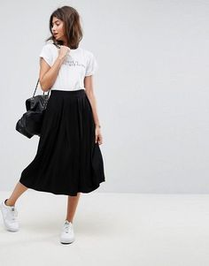 ASOS | ASOS DESIGN midi skirt with box pleats, $26