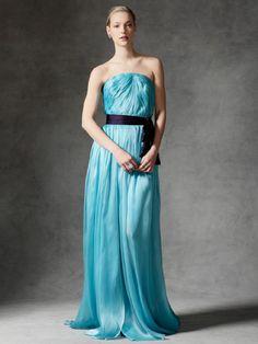 Pleating Strapless A-line Chiffon Bridesmaid Dress BR341