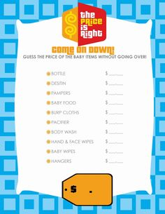 The price is right. Not a typical shower game & everyone can tally their own totals! Ha! -{Divine Design} Free Printable Tuesday | Ally Jean