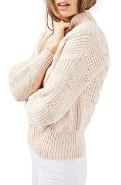 Topshop Cable Knit Sweater at Nordstrom.com. An oversized cable knit adds plenty of casual sophistication to a wool-softened mock-neck sweater.