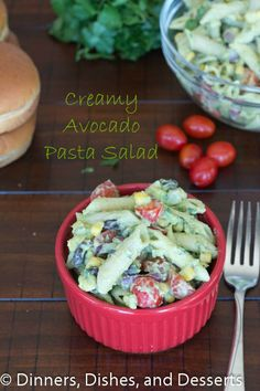 Creamy Avocado Pasta Salad | Veganize: use vegan yogurt and for buttermilk use soy or almond milk mixed w/ some apple cider vinegar