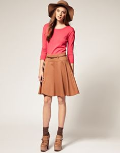 A Wear Belted Full Ponte Skirt