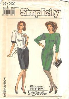SIMPLICITY 8732 - FROM 1988 - UNCUT - MISSES DRESS