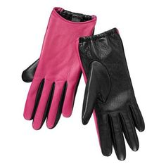 Gap Two Tone Leather Gloves - pink & black (£16) ❤ liked on Polyvore featuring accessories, gloves, women, pink leather gloves, leather gloves, pink gloves, gap gloves and real leather gloves