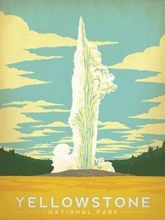 Yellowstone National Park Vintage travel Poster, national parks