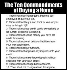 The Ten Commandments - I want to add this to every preliminary disclosure package! :)