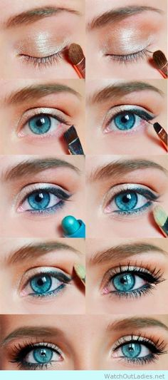 Natural makeup for blue eyes step by step
