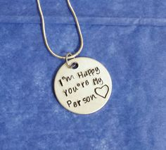 Youre My Person Necklace or Keychain / Personalized Jewelry / Friend Gift / Personalised Jewellry by HandStampedTrinkets on Etsy