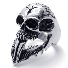 KONOV Jewelry Vintage Stainless Steel Gothic Skull Biker Mens Ring, Black Silver (Available in Size 8, 9, 10, 11, 12, 13, 14, 15, 16): KONOV Jewelry: Jewelry