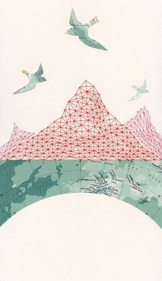 embroidered-map-collages Green and Pink  color