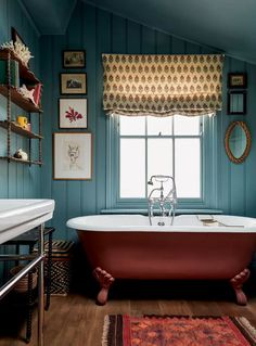 Paint colour ideas and inspiration. Use different colours to create contrast and interest. Little Greene Ashes of Roses contrasts with tongue and groove panelling in Dulux Gravel.