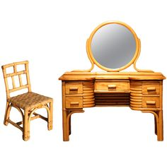 1stdibs.com | Child's Rattan and Mahogany Vanity with Matching Chair