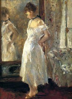 Berthe Marie Pauline Morisot (1841 – 1895) La psyché (The Cheval-Glass), 1876, oil on canvas,65 × 54 cm (25.6 × 21.3 in) Thyssen-Bornemisza Collection Accession number 686 (1977.87)
