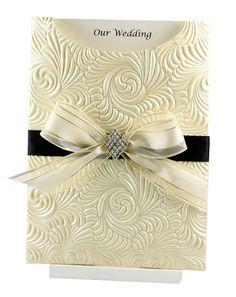 Wedding Invitation - C6 Glamour Pocket Majestic Swirl Ivory Pearl