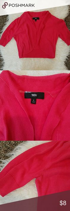 "Mossimo Women's Small Bolero Sweater Mossimo Women's Small Bolero/Shrug/Cropped Sweater. Light Pink. Color appears very bright in pictures, more of a pinkish/red. Light wash wear, very light pilling in underarms. 1/4 Sleeves. Length: 15"" Underarm sleeve length: 5&3/4""  Offers/bundles welcomed! Pet/smoke free home. See my page for more. Mossimo Supply Co Sweaters Shrugs & Ponchos"