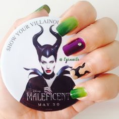This Maleficent inspired nail art features green, purple, tan and black nail polish shades. Re-create this mani with the help of these products.