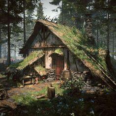 Forest Cabin, Forest House, Forest Village, Forest Cottage, Witch Cottage, Witch House, Fantasy Concept Art, Fantasy Artwork, Fantasy House