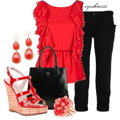 Alice & Olivia bright red ruffle top, Theory cropped jeans, red patent sandals...eye-catching!