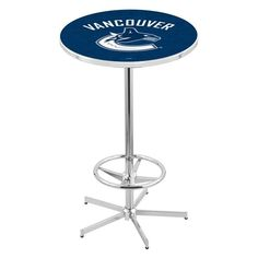 Vancouver Canucks NHL Retro-Style-Base Pub Table. Available in 28-inch and 36-inch Table Top widths. Visit SportsFansPlus.com for details.