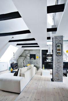 modern rustic | horizontal black posts + white interior