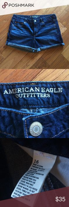 """🆕American Eagle dark blue denim short size 16 American Eagle Size 16 New without tags, Rigid denim, Mid rise, Relaxed thru hip & thigh, 4"""" inseam, Rolled hem 100% Cotton American Eagle Outfitters Shorts Jean Shorts"""