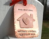 Our New Home Hand Forged/Hand Stamped Copper Christmas Ornament with house and heart