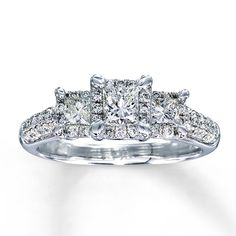 Diamond Engagement Ring 1 CT TW Princess-Cut 14k White Gold. This is my favorite ring!