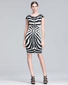 Zebra-Print Sheath Dress by Roberto Cavalli at Neiman Marcus.