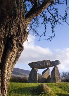 Celtic:  Ballykeel Dolmen, a Neolithic tripod portal tomb at the foot of Slieve Gullion, Ireland.