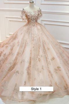 Pretty Quinceanera Dresses, Pretty Dresses, Beautiful Dresses, Champagne Quinceanera Dresses, Rose Gold Gown, Rose Gold Dresses, Rose Gold Wedding Dress, Pink And Gold Dress, Rose Gown