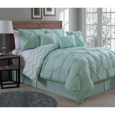 Avondale Manor Ella Mint Queen Comforter Set - The Home Depot Green Rooms, Mint Green Bedding, Green Bedding, Green Bedding Set, Bedroom Decor, Bedroom Green, Mint Bedroom, Mint Green Bedroom, Mint Green Rooms
