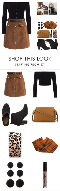 """♡158♡"" by mia-172xx ❤ liked on Polyvore featuring Chicwish, River Island, MICHAEL Michael Kors, Casetify, Burberry, Cara, Charlotte Russe and Impossible Project"
