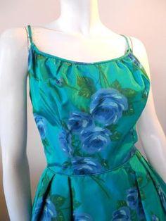 60s dress blue rose print vintage dress