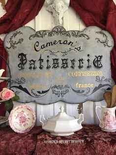French Pastry Shop patisserie sign Large by FrenchVelvetHorses