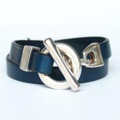 Bracelet femme en cuir double tour  bleumarine 072dc714d1c