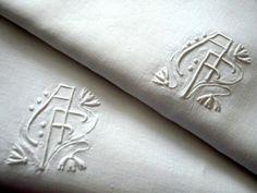 Pr Antique Monogram Linen Shams French Art Deco Euro Pillowcases. $75.00, via Etsy.