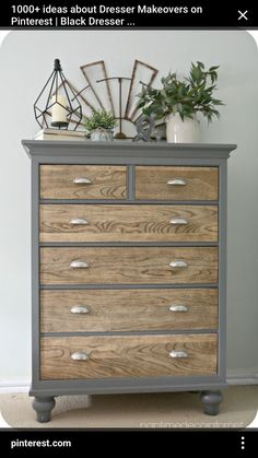 dresser makeover - natural wooden drawers with upcycled grey painted outer frame. - dresser makeover – natural wooden drawers with upcycled grey painted outer frame- www. Refurbished Furniture, Repurposed Furniture, Farmhouse Furniture, Redoing Furniture, Grey Painted Furniture, Country Furniture, Dresser Furniture, Country Decor, Furniture Dolly