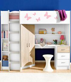Hochbett ikea stuva  Kinderzimmer Idee - Treppe aus Schubfächer und Schreibtisch unter ...