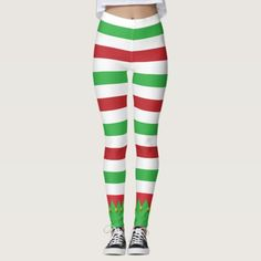 Red & Green Striped Cute Elf Christmas Holiday Leggings
