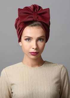 Flower style turban in burgundy. The Turban is stretchy, light, and comfortable. The back of the turban has an elastic strip sewn in for comfort and stability. This versatile turban can be worn as a full or Mode Turban, Hair Turban, Turban Hat, Turban Style, Turban Headbands, Head Wrap Headband, Head Wrap Scarf, Knit Headband, Hair Tuck