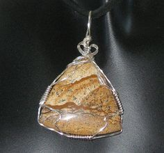 Picture jasper sterling silver wire wrapped pendant by JMWambolt2, $34.00