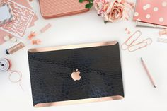 Add a Beautiful Sleeve or Tote (New!) https://www.etsy.com/listing/265494130/beautiful-laptop-sleeves-and-totes-for Real Texture that you can feel, it makes it a great grip while carrying your Macbook with a beautiful Alligator Faux Skin in a Glossy Black color Rose Gold/Copper: Our Hand Made Rose Gold/Copper Chrome is reflective as all Chrome materials, it reflects light in a very unique way, in the morning on natural light it will look light rose gold hu...